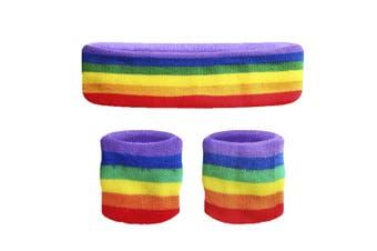Sweatband Headband Wristband Set - Rainbow