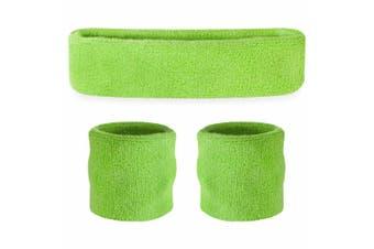 Sweatband Headband Wristband Set - Neon Green