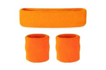 Sweatband Headband Wristband Set - Neon Orange