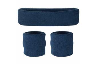 Sweatband Headband Wristband Set - Navy