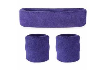 Sweatband Headband Wristband Set - Purple