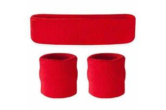 Sweatband Headband Wristband Set - Red