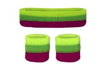Sweatband Headband Wristband Set - Neon Yellow Green Pink