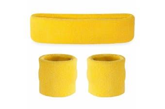 Sweatband Headband Wristband Set - Yellow