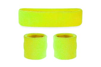 Sweatband Headband Wristband Set - Neon Yellow