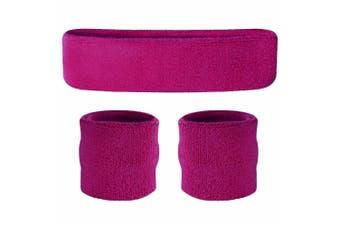 Sweatband Headband Wristband Set - Fuchsia