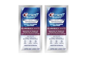 Crest 3D Glamorous White Strips Advanced Teeth Whitening Dental Treatment Kit [Count: 2 Pouches - 4 Strips]