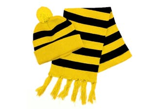 Yellow & Black Striped Beanie & Scarf