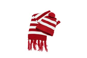 Red & White Striped Beanie & Scarf