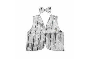 Kids Sequin Bow Tie & Vest Set [Colour: White]