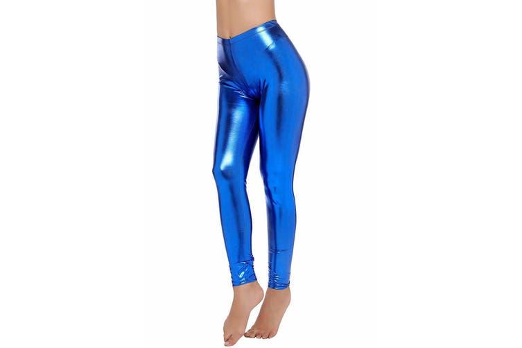 Metallic Leggings - Various Colours [Colour: Royal Blue] [Size: L - XL]