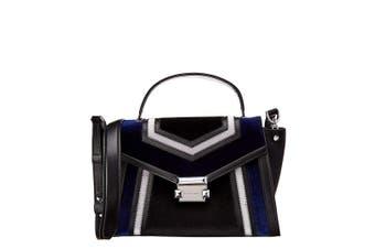 Michael Kors Whitney Tricolor Velvet Leather Patchwork Satchel Handbag Black/Dark Electric Blue