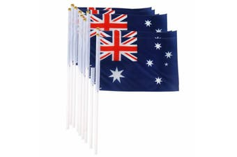 Mini Australian Flag Handheld 14cm x 21cm - 8 Pack