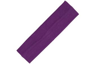 Wide Comfortable Stretch Yoga Sport Gym Cotton Headband Women Girl Kids - Purple