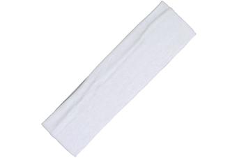 Wide Comfortable Stretch Yoga Sport Gym Cotton Headband Women Girl Kids - White