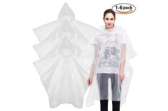 Pocket Raincoat Poncho - Clear 6 Pack