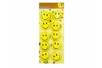 Yellow Smiley Face Badges - 3 CM 10 Pack