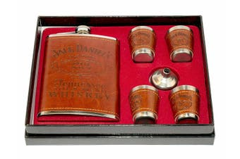 Hip Flask & Shot Glasses Gift Set - Brown
