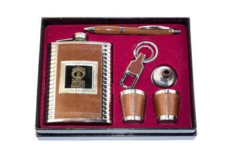 Hip Flask & Shot Glasses Gift Set - Keychain