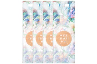 Wine Travel Bag (Floral) Pack of 4 Reusable | Wine Travel Bottle Protector