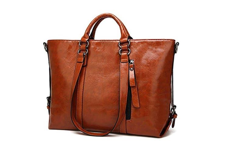 Fashion Pu Leather Top Handle Bags Waterproof Handbags Shoulder Bags Brown