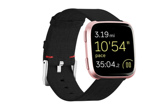 Newest Lightweight Breathable Woven Wristband Watch Band for Fitbit Versa Smart Watch Black