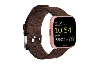 Newest Lightweight Breathable Woven Wristband Watch Band for Fitbit Versa Smart Watch Coffee