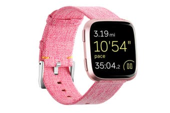 Newest Lightweight Breathable Woven Wristband Watch Band for Fitbit Versa Smart Watch Pink