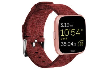 Newest Lightweight Breathable Woven Wristband Watch Band for Fitbit Versa Smart Watch Red