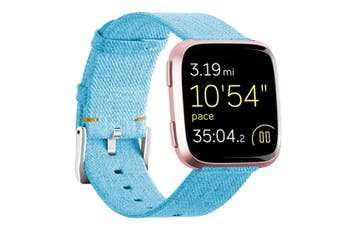 Newest Lightweight Breathable Woven Wristband Watch Band for Fitbit Versa Smart Watch Sky Blue