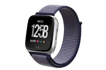 Adjustable Velco Nylon Strap Sport Loop Band Wristbands For Fitbit Versa Fitness Smart Watch Blue