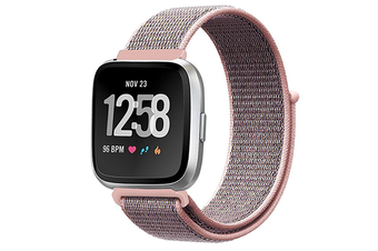 Adjustable Velco Nylon Strap Sport Loop Band Wristbands For Fitbit Versa Fitness Smart Watch Pink Sand