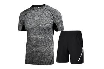 Mens Sport Short Sleeve T-Shirt Athletic Pants Sweatsuits 2 Pcs Dark Grey L
