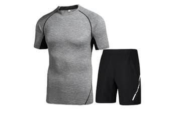 Mens Sport Short Sleeve T-Shirt Athletic Pants Sweatsuits 2 Pcs Light Grey L