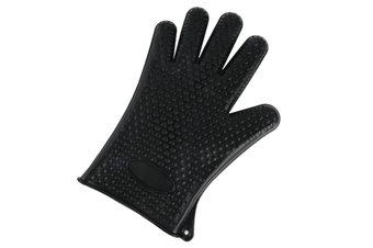2Pcs Of Silica Gel Gloves Kitchen Five Fingers Baking Insulation Anti-Scalding Gloves Black