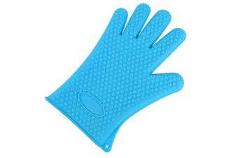 2Pcs Of Silica Gel Gloves Kitchen Five Fingers Baking Insulation Anti-Scalding Gloves Blue