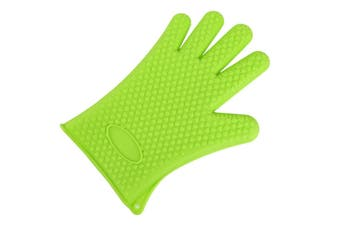2Pcs Of Silica Gel Gloves Kitchen Five Fingers Baking Insulation Anti-Scalding Gloves Green