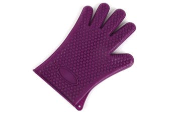 2Pcs Of Silica Gel Gloves Kitchen Five Fingers Baking Insulation Anti-Scalding Gloves Purple