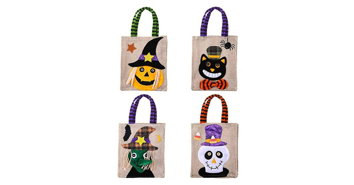 Dick Smith Candy Bags Trick Or Treat Cartoon Pumpkin Bag For Kids Halloween Themed Party Gift Favor 4 Packs Home Decor
