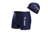 Men'S Square Leg Splice Jammer Swimming Shorts Swim Trunks Tights With Hat Blue 2Xl
