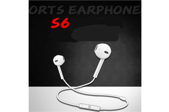S6 Sports Headset Stereo Noise Canceling Headphones Sports Sweat-Proof Headphones White