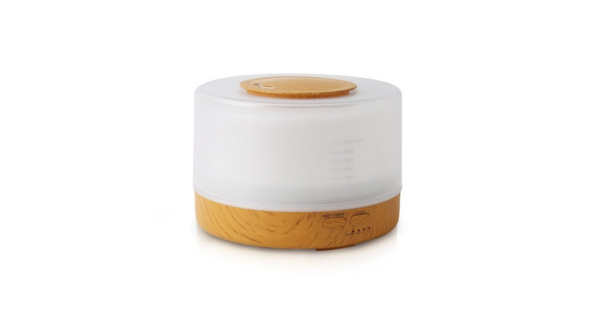 Wood Grain Air Humidifier With Remote Control Essential Oil Diffuser 500ml Brown Matt Blatt