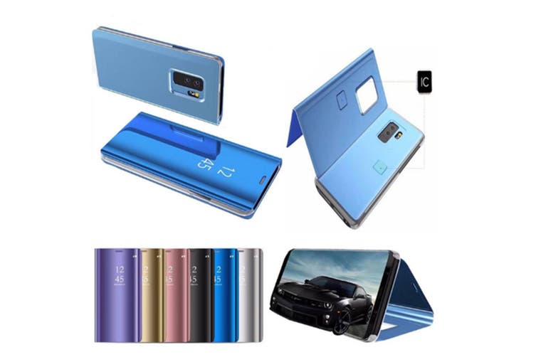 Mirror Case Translucent Flip Full Protection Stand For Samsung Blue Samaung A6+A6 Plus(2018)