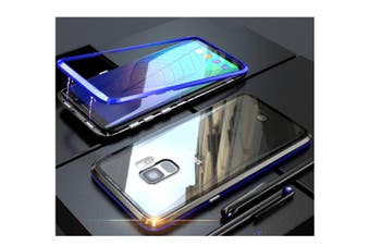 Magnetic Adsorption Phone Case Metal Back Glass Cover For Samsung Galaxy Blue Samsung S9
