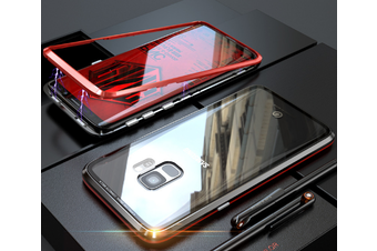 Magnetic Adsorption Phone Case Metal Back Glass Cover For Samsung Galaxy Red Samsung S9