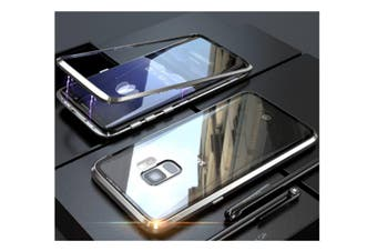 Magnetic Adsorption Phone Case Metal Back Glass Cover For Samsung Galaxy Silver Samsung S9