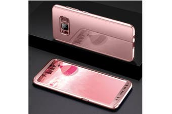Mirror Cover Full Protective Scratchproof Flip Stand Case Shell For Samsung Rose Gold Samsung A7-2017