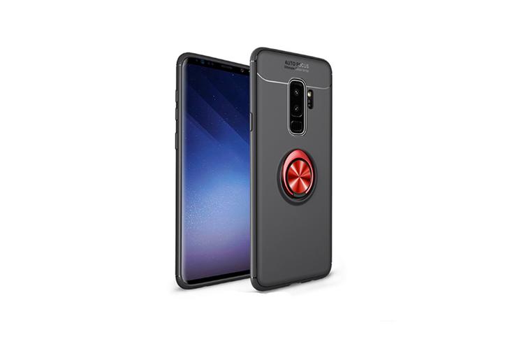 Ring Holder Kickstand Cover Soft Tpu Ultra Slim Case For Samsung Black+Red S8
