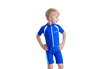 Swimsuit One Piece Kid Swimwear Uv Sun Protection Royal Blue L