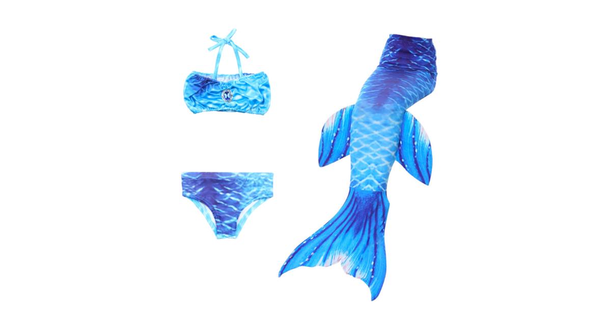 Dick Smith 3pcs Swimmable Mermaid Tail Kids Girls Princess Bikini Set Swimsuit Swimwear Jp98 150 Tights